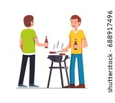 man doing barbecue  grilling... | Shutterstock .eps vector #688917496