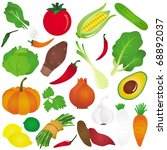 vector of fruit  vegetable  ... | Shutterstock .eps vector #68892037