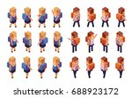 back to school  boy  girl.... | Shutterstock .eps vector #688923172
