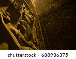 dark dimly lit temple in egypt... | Shutterstock . vector #688936375