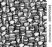 hand drawn beer seamless... | Shutterstock .eps vector #688940068