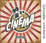cinema retro tin sign design... | Shutterstock .eps vector #688941652