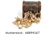 fashion gold jewelry in wooden... | Shutterstock . vector #68894167