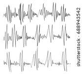 hand drawn black heartbeat icon.... | Shutterstock .eps vector #688943542