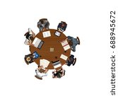 people sitting at a round table ... | Shutterstock . vector #688945672