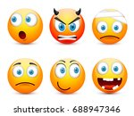 smiley with blue eyes emoticon... | Shutterstock .eps vector #688947346