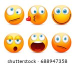 smiley with blue eyes emoticon... | Shutterstock .eps vector #688947358