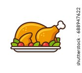 roast turkey or chicken icon ... | Shutterstock .eps vector #688947622