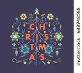 flat ornamental xmas tree... | Shutterstock .eps vector #688948588