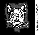 french bulldog with a cigar.... | Shutterstock .eps vector #688949665