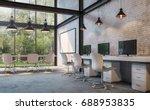 loft style office 3d rendering... | Shutterstock . vector #688953835