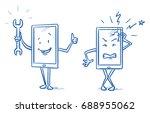 happy cartoon smart phone... | Shutterstock .eps vector #688955062