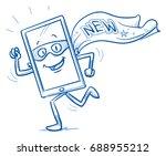 happy cartoon smart phone... | Shutterstock .eps vector #688955212