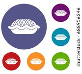 pie icons set in flat circle... | Shutterstock . vector #688956346