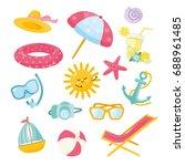 vector set of summer elements.... | Shutterstock .eps vector #688961485