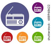retro radio icons set in flat... | Shutterstock . vector #688968622