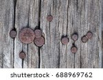 closeup of grunge dark wood... | Shutterstock . vector #688969762