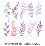 hand drawn watercolor... | Shutterstock . vector #688972222