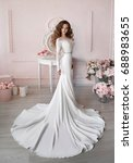 gorgeous beautiful bride... | Shutterstock . vector #688983655