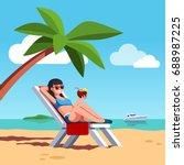 woman in swimsuit sunbathing... | Shutterstock .eps vector #688987225