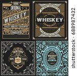 set of 4 labels. western style | Shutterstock .eps vector #688987432