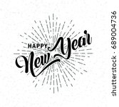 hand drawn happy new year  font.... | Shutterstock .eps vector #689004736
