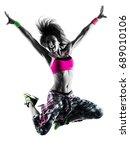 one caucasian woman fitness... | Shutterstock . vector #689010106