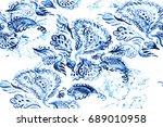 paisley watercolor ethnic... | Shutterstock . vector #689010958