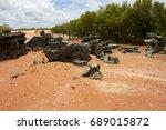 remote roebuck bay in broome  ... | Shutterstock . vector #689015872