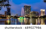 lake eola in downtown orlando ... | Shutterstock . vector #689027986