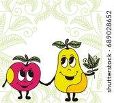 cute cartoon apple and pear.... | Shutterstock .eps vector #689028652