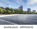 empty road with modern business ... | Shutterstock . vector #689036242