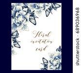 vintage delicate invitation...   Shutterstock . vector #689036968