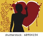 Girl With Hand On Bloody Heart