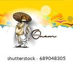 king mahabali   happy onam... | Shutterstock .eps vector #689048305