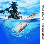 pirate ship in a glass bottle. | Shutterstock . vector #689051932