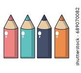 colored pencils icon cartoon
