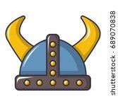 swedish viking helmet icon.... | Shutterstock .eps vector #689070838