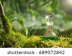 magic potion in bottle in forest | Shutterstock . vector #689072842