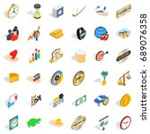 round coin icons set. isometric ... | Shutterstock .eps vector #689076358