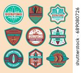 extreme surfing camp vintage... | Shutterstock .eps vector #689080726