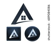 design of real estate icons on... | Shutterstock .eps vector #689084086