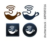design of wifi coffee icons on... | Shutterstock .eps vector #689085316