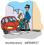 boy helps a blind man to cross... | Shutterstock .eps vector #68908927