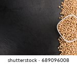 chickpeas on a vintage... | Shutterstock . vector #689096008