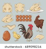 chicken icons set | Shutterstock .eps vector #689098216