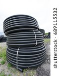new black plastic pipes for... | Shutterstock . vector #689115532
