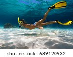 woman freediver explores... | Shutterstock . vector #689120932