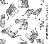 seamless pattern of hand drawn... | Shutterstock .eps vector #689121478