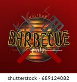 bbq party banners vector... | Shutterstock .eps vector #689124082